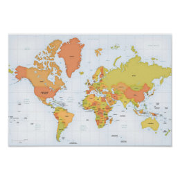 Red world map posters prints zazzle uk vivid map of the world poster gumiabroncs Gallery