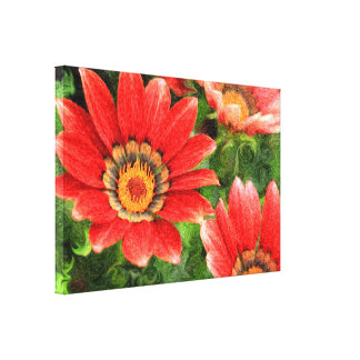 Vivid Orange African Daisy Digital Oil Painting Stretched Canvas Print