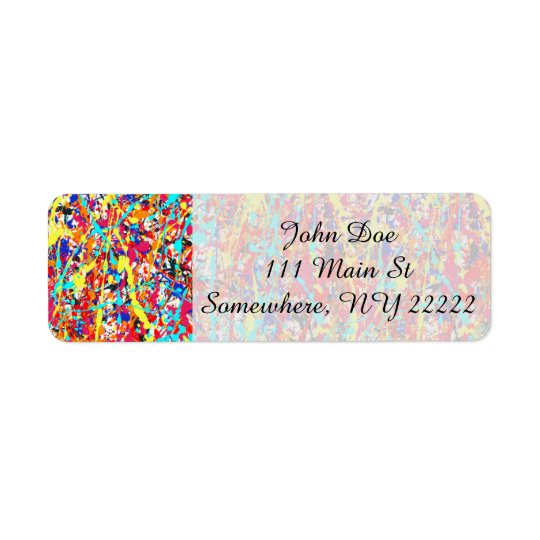 Vivid Paint Splatter Abstract Return Address Label