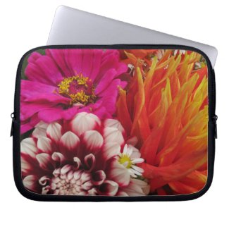Vivid Pink and Orange Floral Computer Sleeve