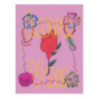 Vivid Pink Special Rose Art Postcard