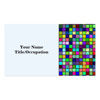 Vivid Rainbow Colors And Pastels Squares Pattern Business Cards