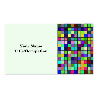 Vivid Rainbow Colors And Pastels Squares Pattern Business Card Template