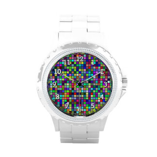 Vivid Rainbow Colors And Pastels Squares Pattern Watches