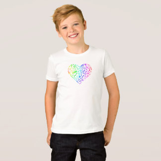 Vivid Rainbow Music Notes Heart Kids T-Shirt