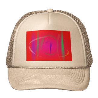 Vivid Red Abstract Bamboo Thicket Mesh Hats