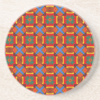 Vivid Red Blue and Green Tiled Pattern2 Drink Coaster
