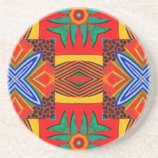 Vivid Red Blue and Green Tiled Pattern Beverage Coaster