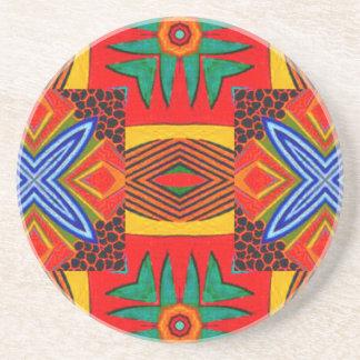 Vivid Red Blue and Green Tiled Pattern Beverage Coaster