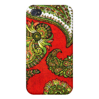 Vivid Red Indian Paisley iPhone 4/4S Case