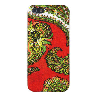 Vivid Red Indian Paisley iPhone 5/5S Case