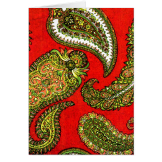 Vivid Red Paisley Note Cards