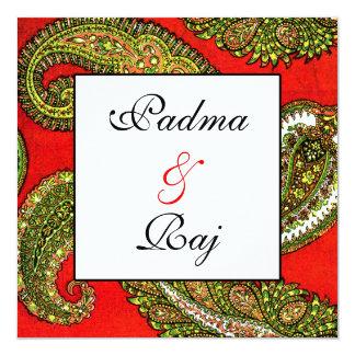 Vivid Red Paisley Wedding Invitation