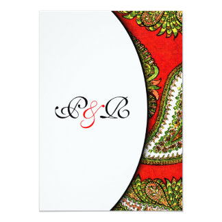 Vivid Red Paisley Wedding Invitation