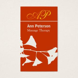 Vivid Red Pretty Ginkgo Bold Monogram Business Card