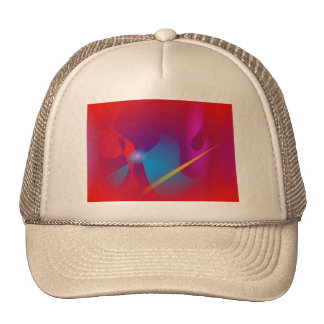 Vivid Red Simple Abstract Design Hats