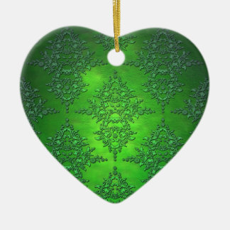 Vivid Rich Green Damask Pattern Ceramic Heart Decoration