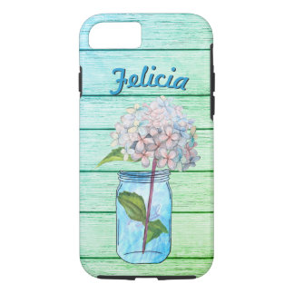 Vivid Rustic Hydrangea in Luminous Blue Jar iPhone 7 Case