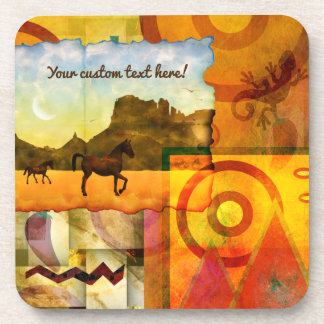 Vivid Southwest Desert Horse Graphic Collage Coasters