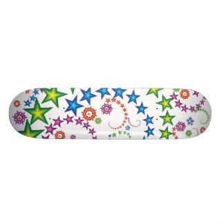 vivid stars_2 on wood skate board deck