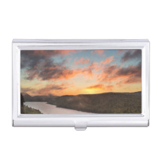 Vivid Sunrise Over Lake Of The Clouds In Autumn Business Card Holder