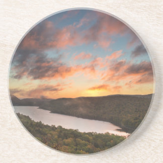 Vivid Sunrise Over Lake Of The Clouds In Autumn Coaster