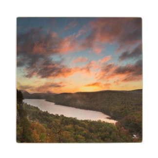 Vivid Sunrise Over Lake Of The Clouds In Autumn Wood Coaster