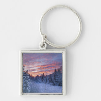 Vivid sunset paints the sky above wintery Silver-Colored square key ring