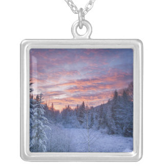 Vivid sunset paints the sky above wintery silver plated necklace