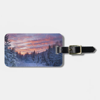 Vivid sunset paints the sky above wintery tags for bags