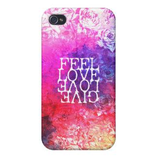 Vivid Vintage Grunge Floral Love Saying Design iPhone 4 Cover