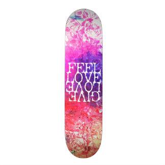 Vivid Vintage Grunge Floral Love Saying Design Skate Decks