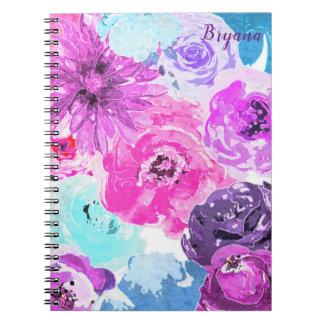 Vivid Violet Bold Floral Flowers Pink Purple Chic Notebook