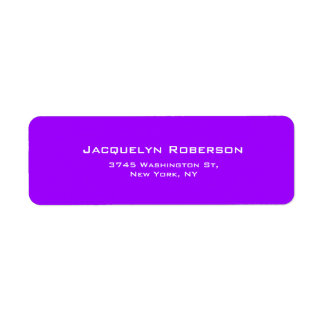 Vivid Violet Plain Elegant Contemporary Unique Return Address Label