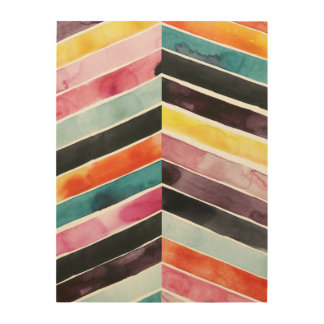 Vivid Watercolor Chevron I Wood Wall Art