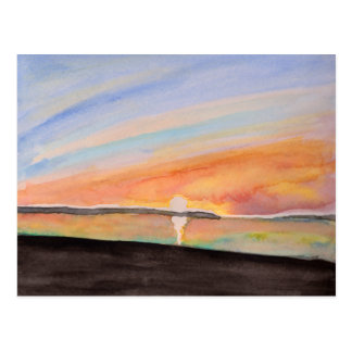 Vivid Watercolor Sunrise Postcard