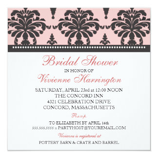 Vivienne Damask Bridal Shower Invitation