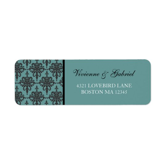 Vivienne Damask Bride Groom Address Label