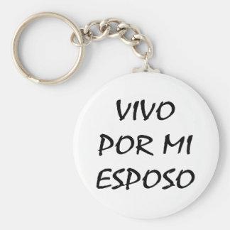 Vivo Por Mi Esposo Basic Round Button Key Ring