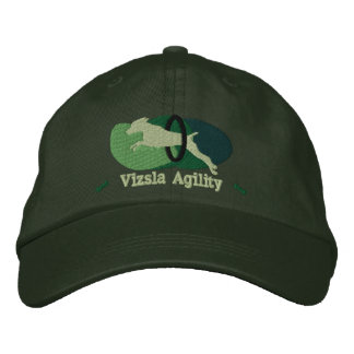 Vizsla Agility Tire Jump Hat (Green) Embroidered Hat