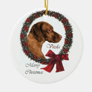 Vizsla Christmas Gifts Round Ceramic Decoration