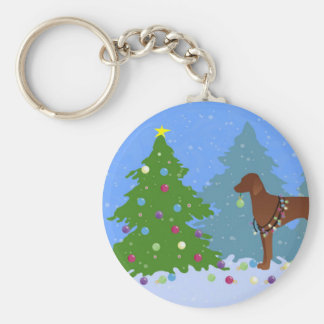 Vizsla Decorating a Christmas Tree in the Forest Basic Round Button Key Ring