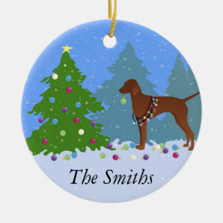 Vizsla Decorating a Christmas Tree in the Forest Round Ceramic Decoration