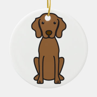 Vizsla Dog Cartoon Round Ceramic Decoration
