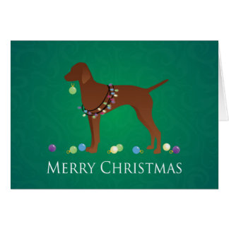 Vizsla Dog Merry Christmas Design Card