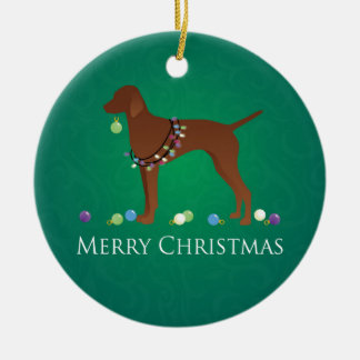 Vizsla Dog Merry Christmas Design Round Ceramic Decoration