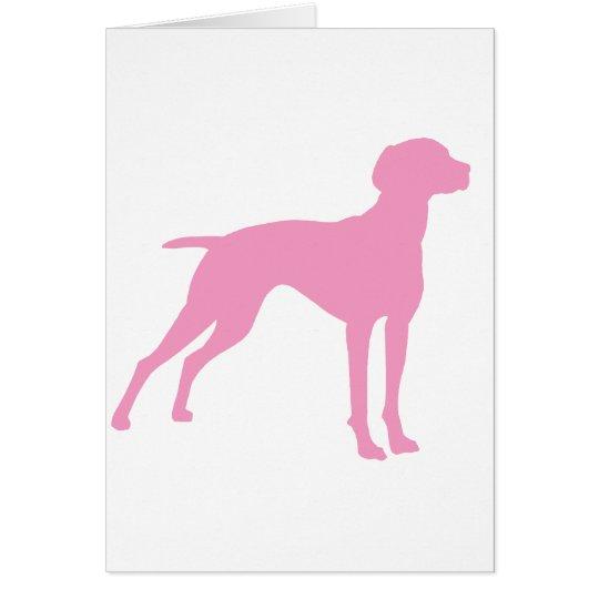 Vizsla Dog Silhouette (pink) Card