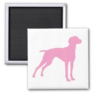 Vizsla Dog Silhouette (pink) Magnet