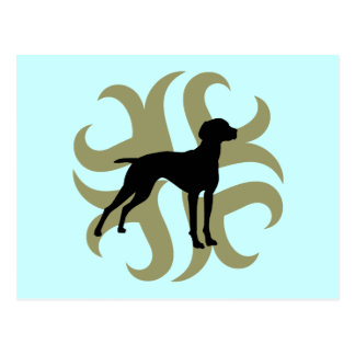 Vizsla Dog Tribal (green and black) Postcard
