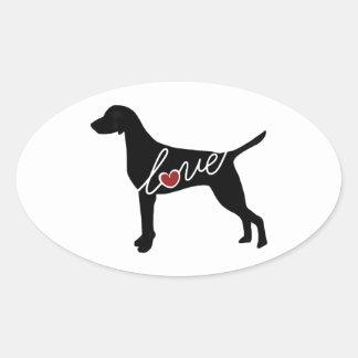Vizsla Love Oval Sticker